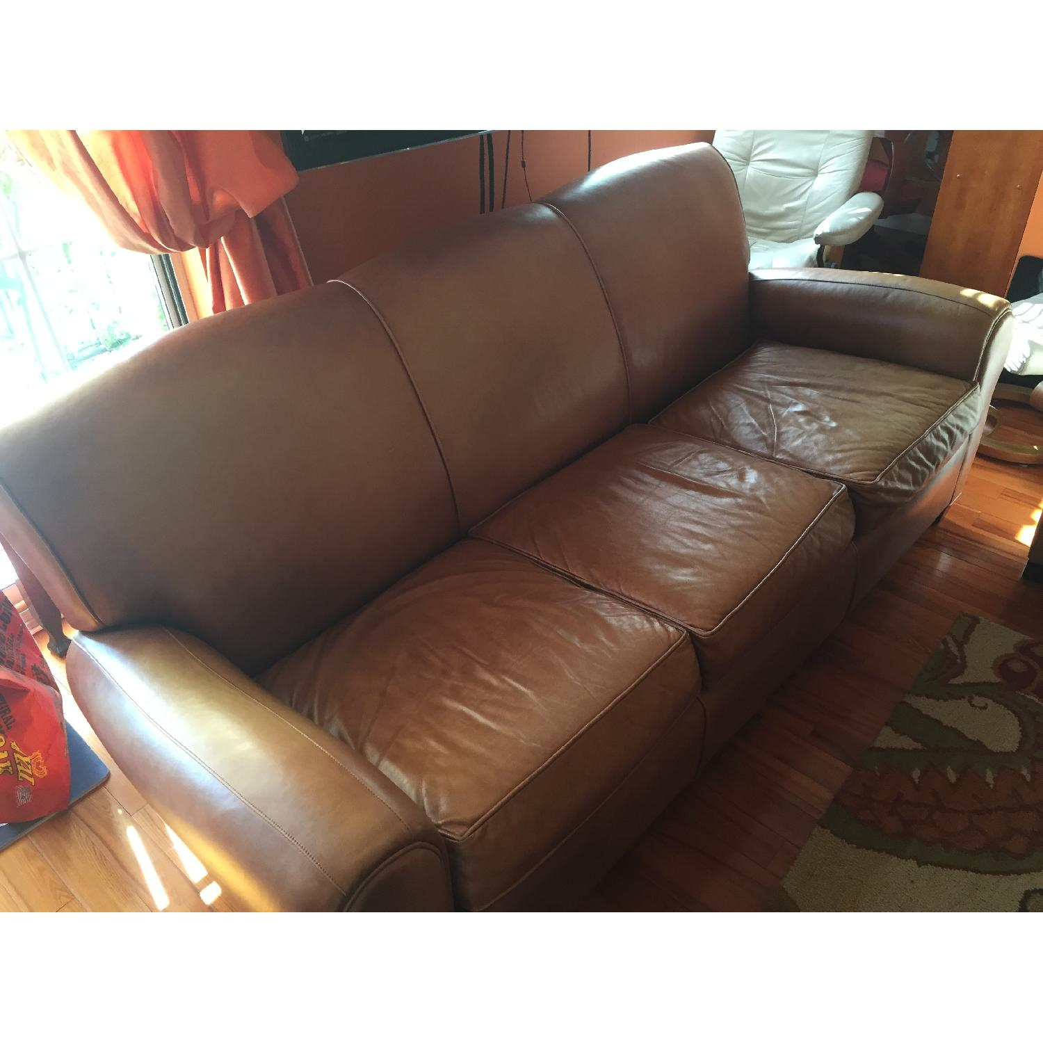 Pottery Barn Manhattan Leather Couch - image-1