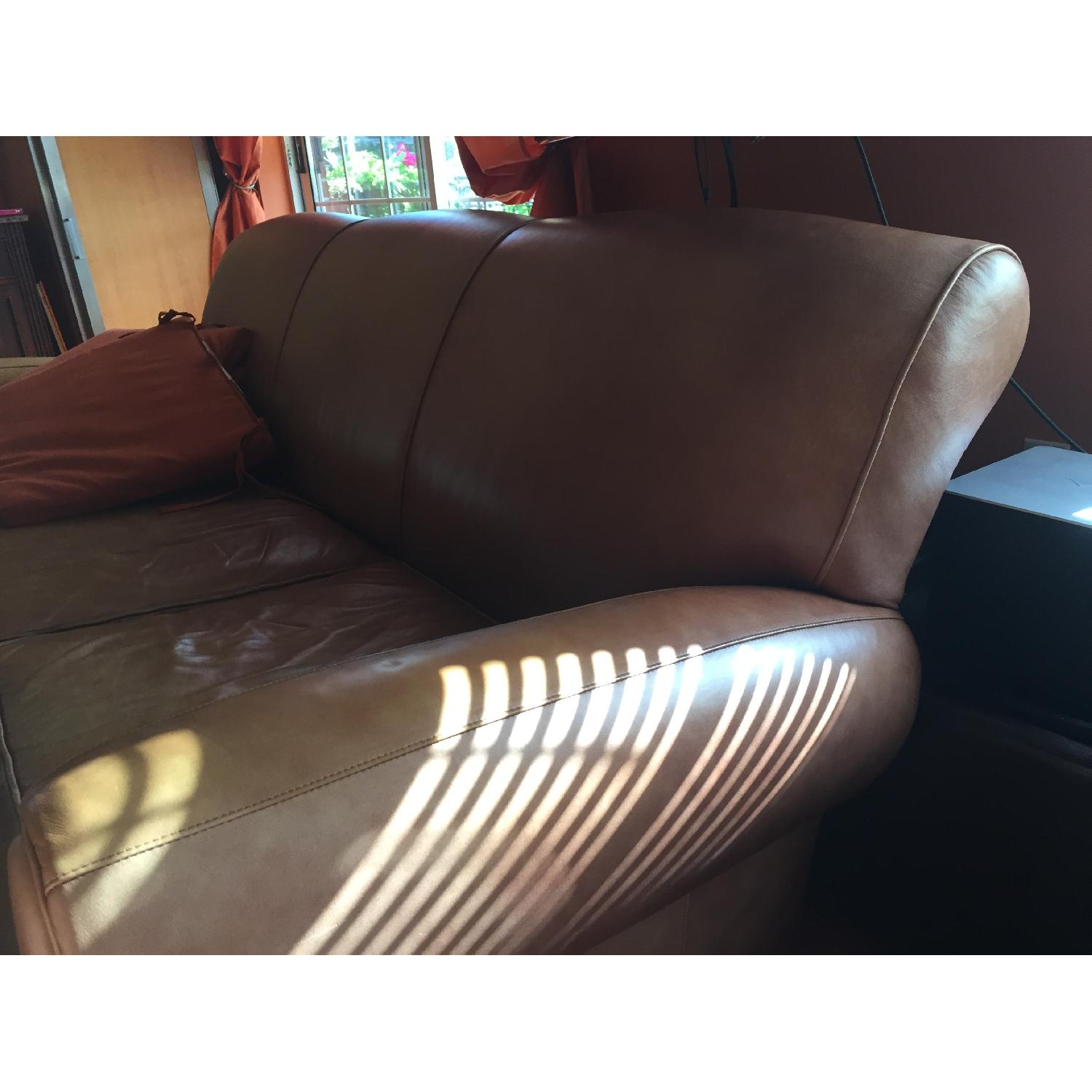 Pottery Barn Manhattan Leather Couch - image-2