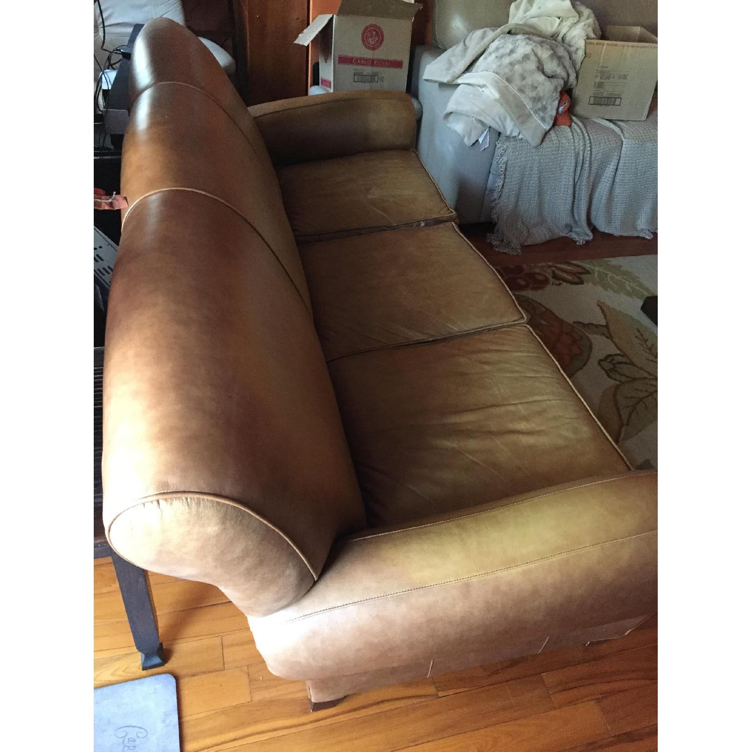 Pottery Barn Manhattan Leather Couch - image-3