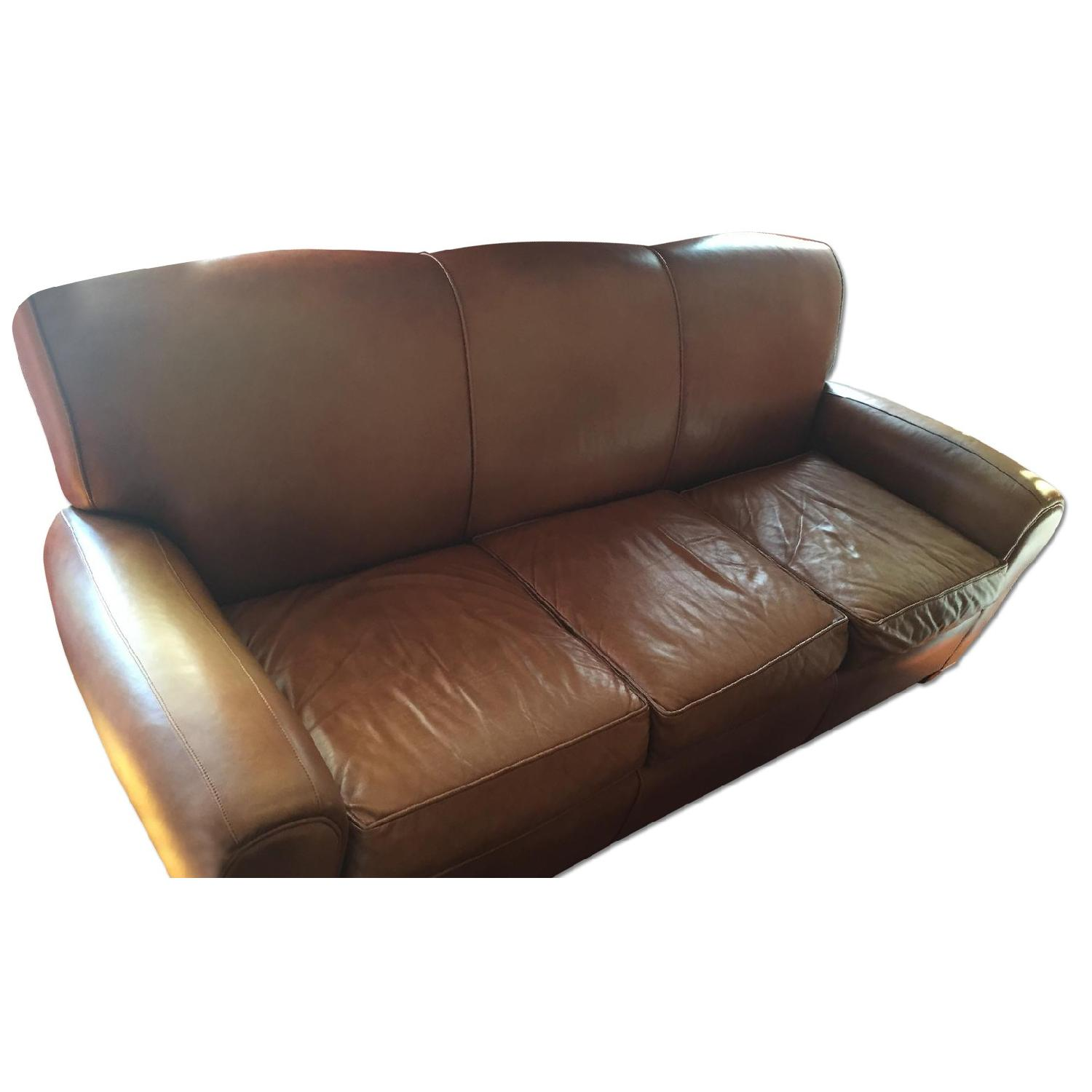 Pottery Barn Manhattan Leather Couch - image-0