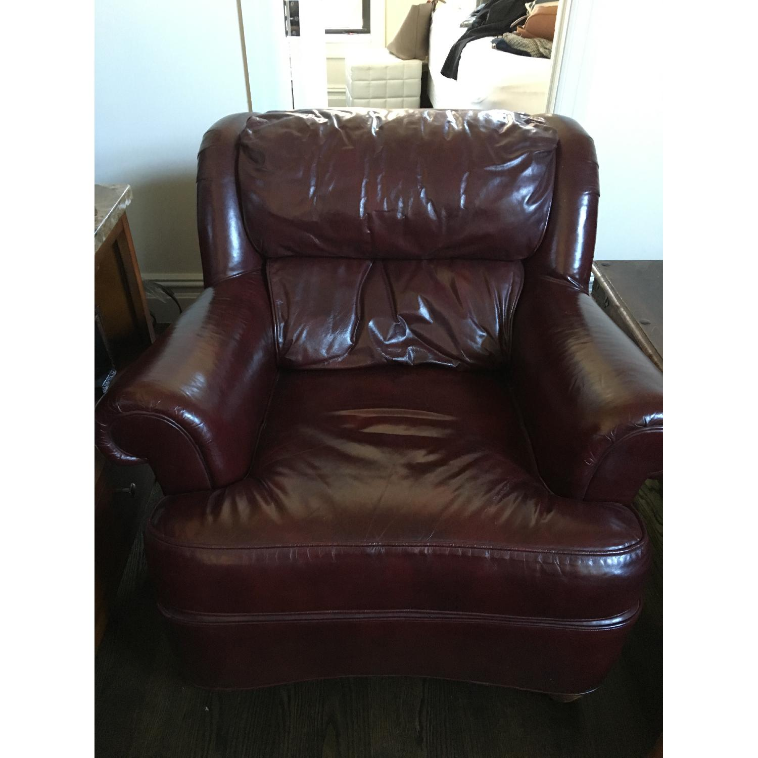 Burgundy Leather Reading Chair & Ottoman - image-1
