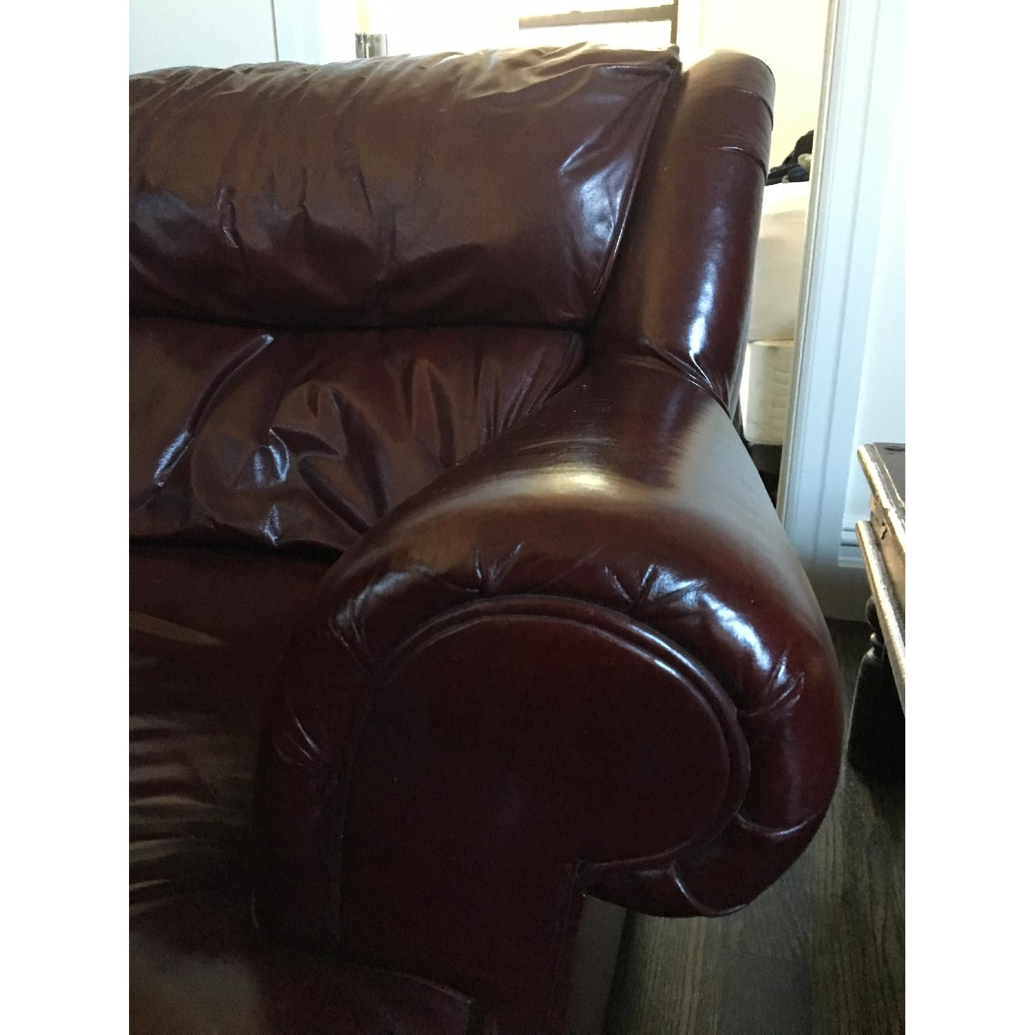 Burgundy Leather Reading Chair & Ottoman - image-2