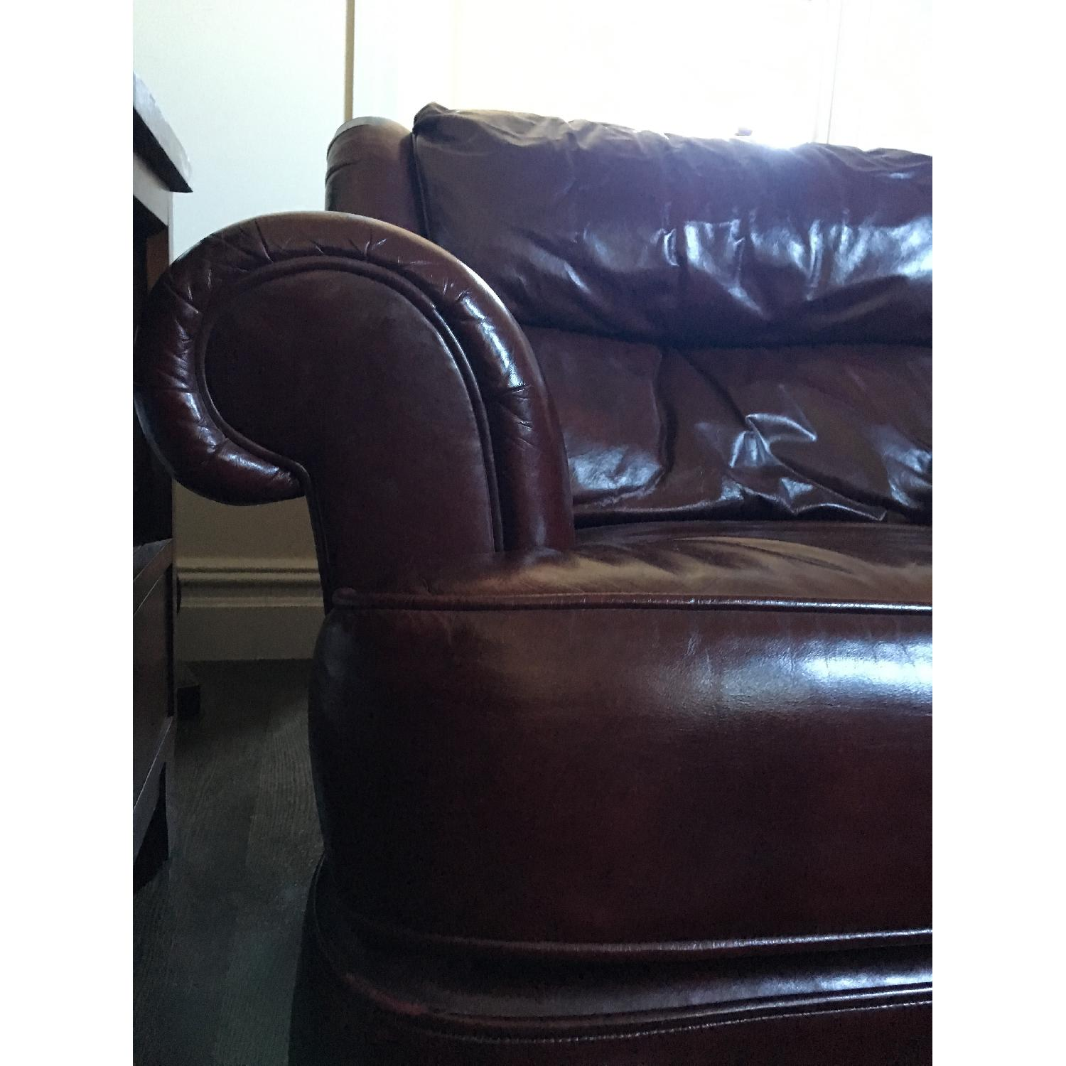 Burgundy Leather Reading Chair & Ottoman - image-3