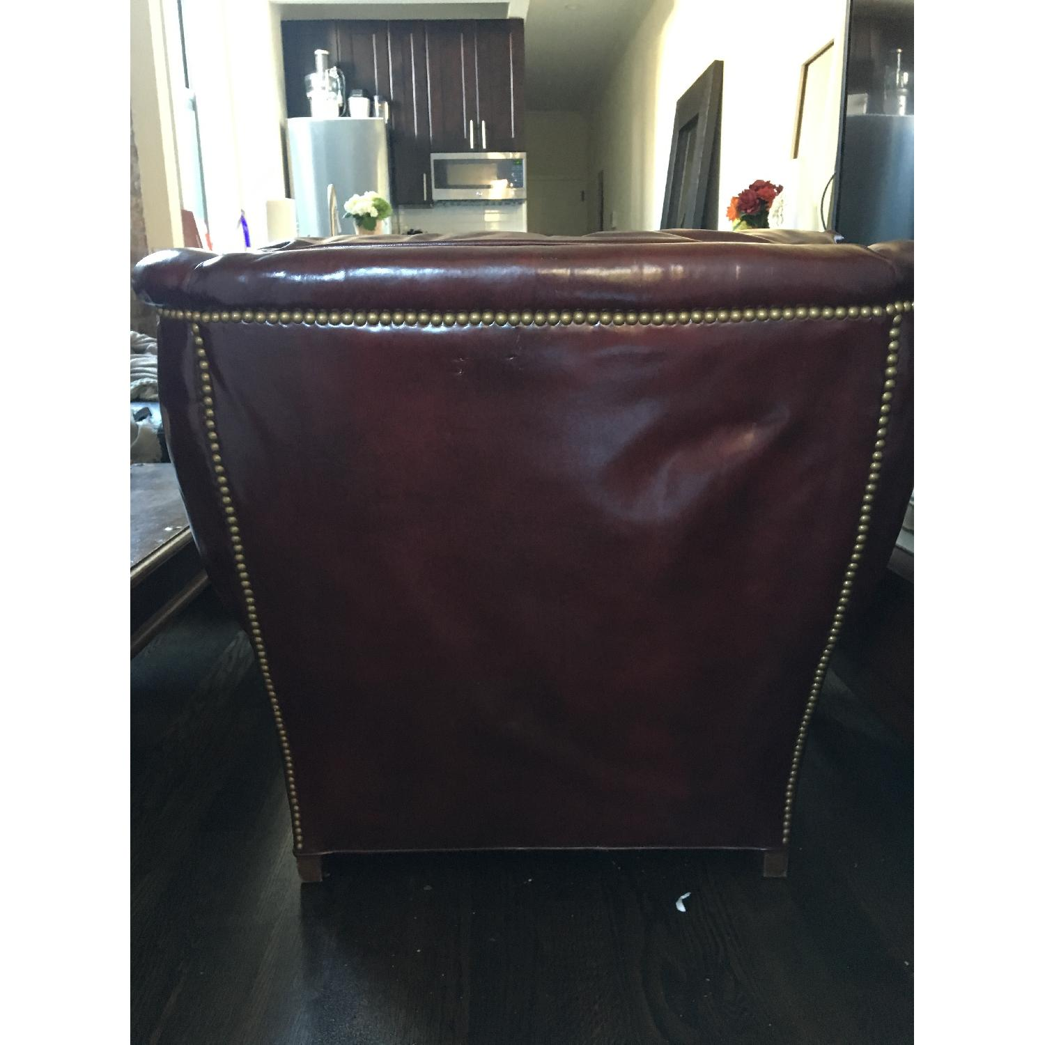 Burgundy Leather Reading Chair & Ottoman - image-4