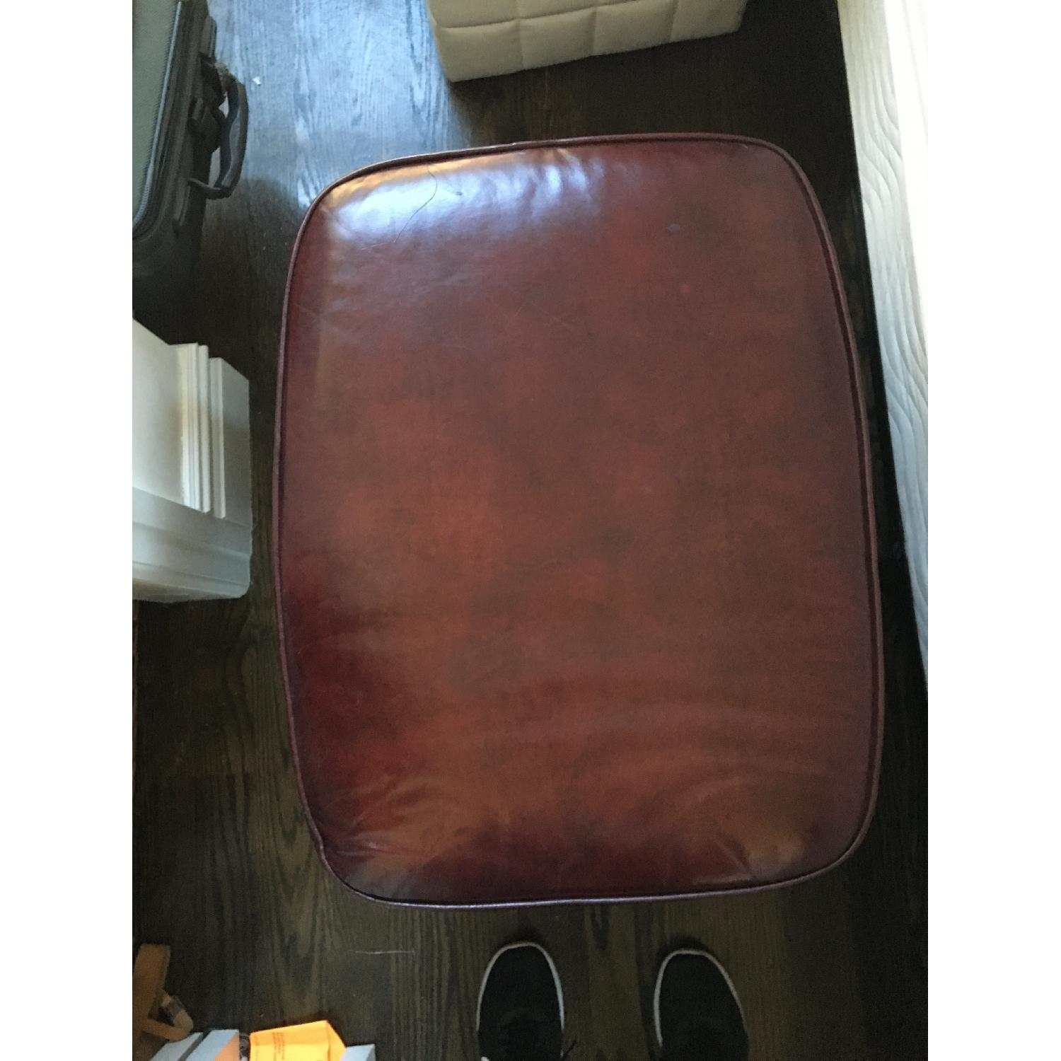 Burgundy Leather Reading Chair & Ottoman - image-5