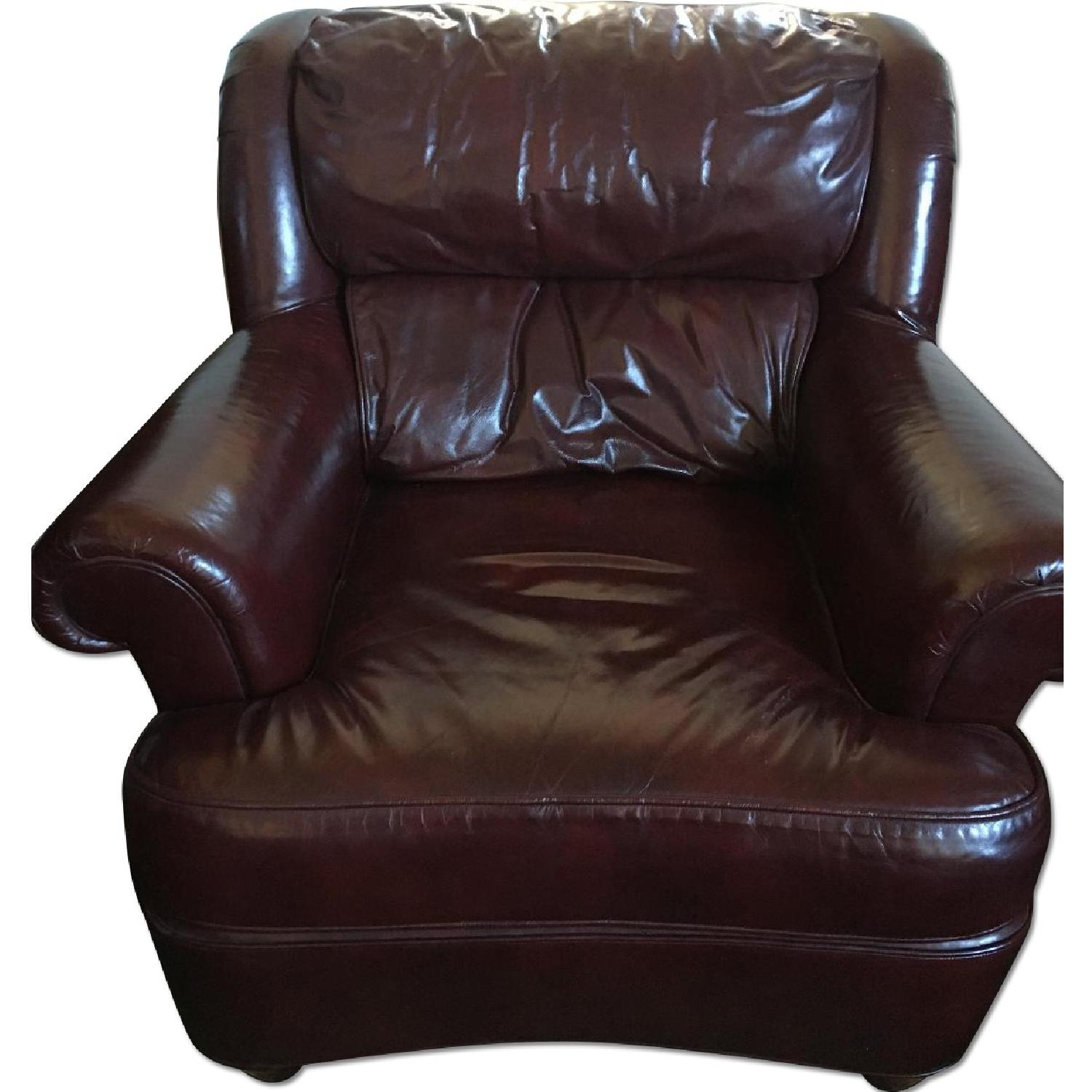 Burgundy Leather Reading Chair & Ottoman - image-0