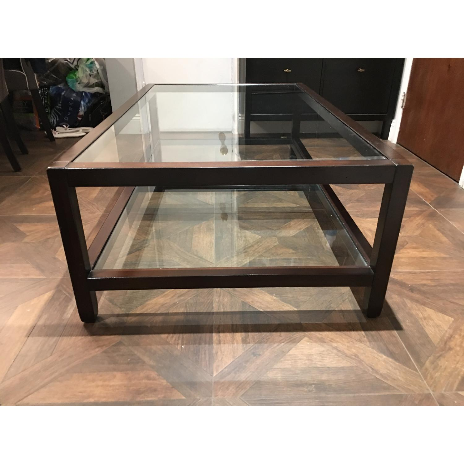 Pottery Barn Glass & Wood Coffee Table - image-1