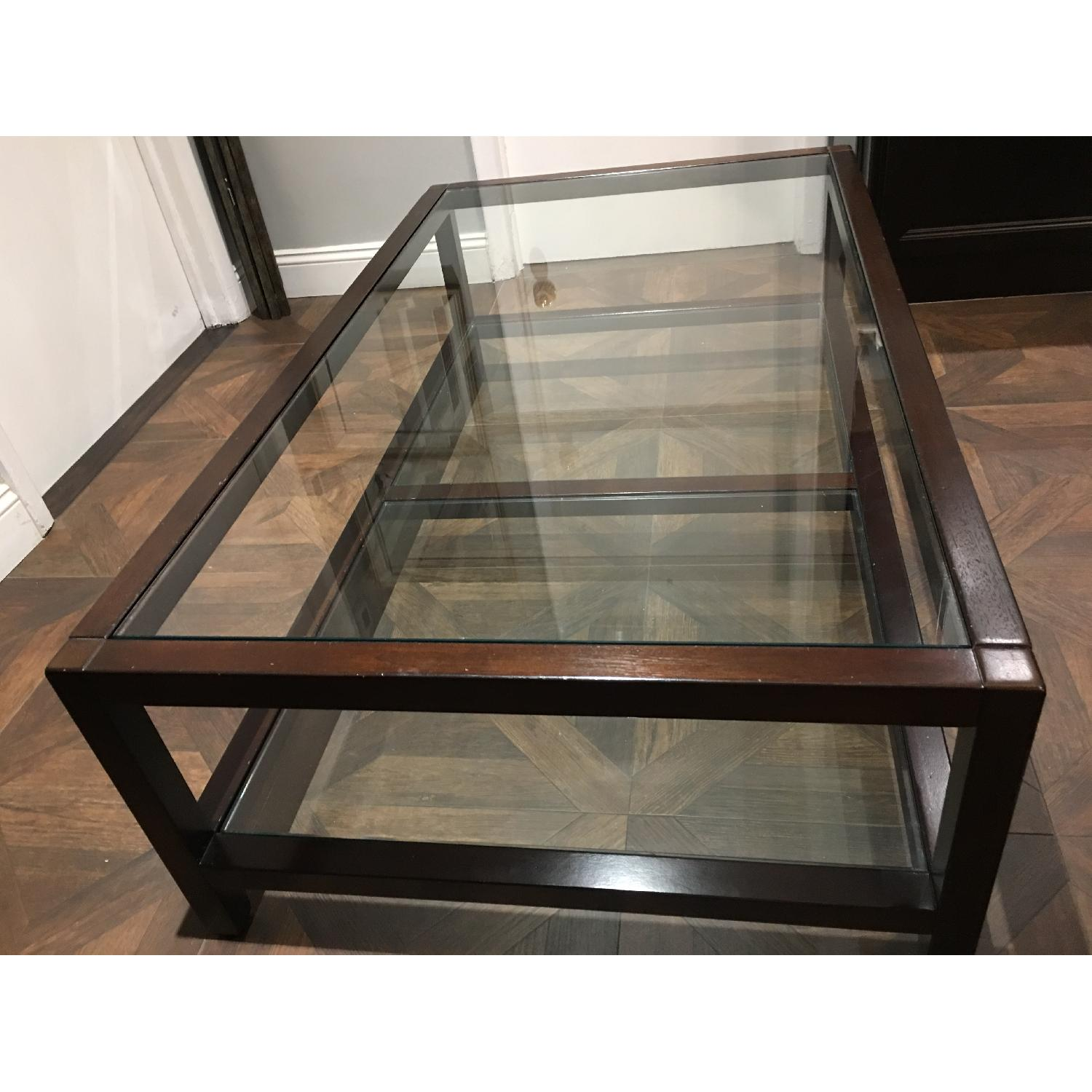 Pottery Barn Glass & Wood Coffee Table - image-5