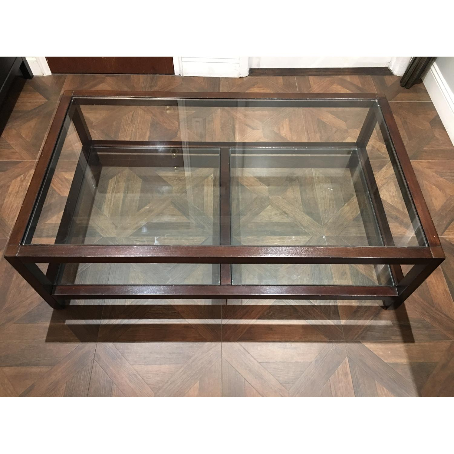Pottery Barn Glass & Wood Coffee Table - image-6