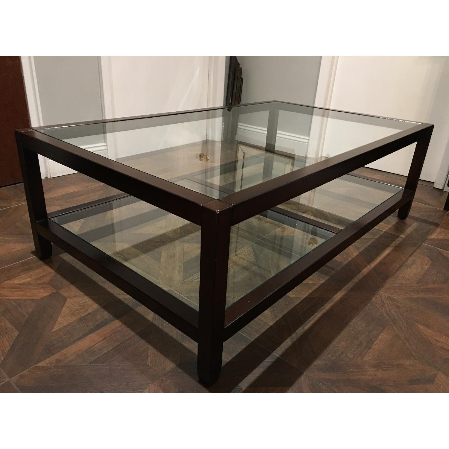 Pottery Barn Glass & Wood Coffee Table - image-8