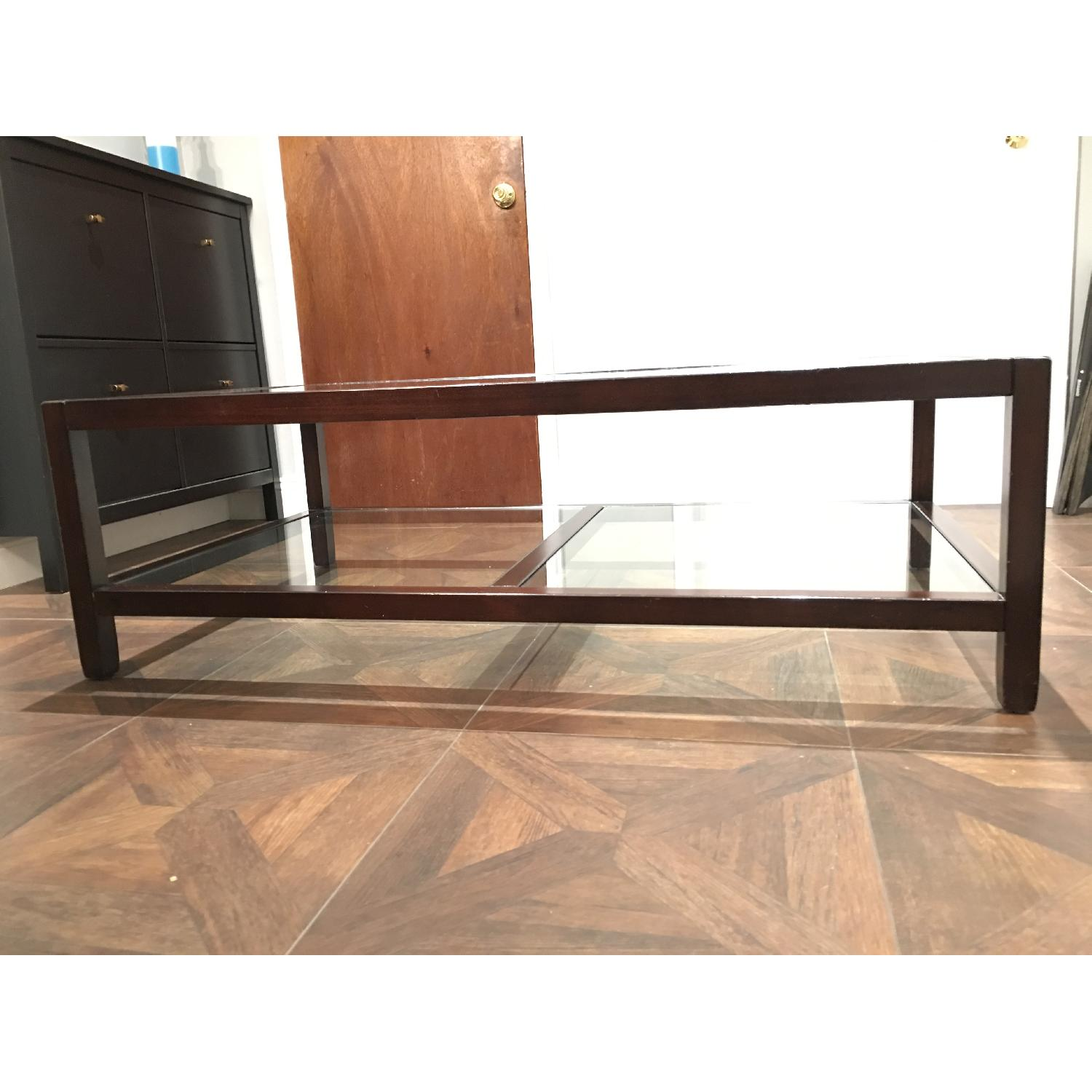 Pottery Barn Glass & Wood Coffee Table - image-11