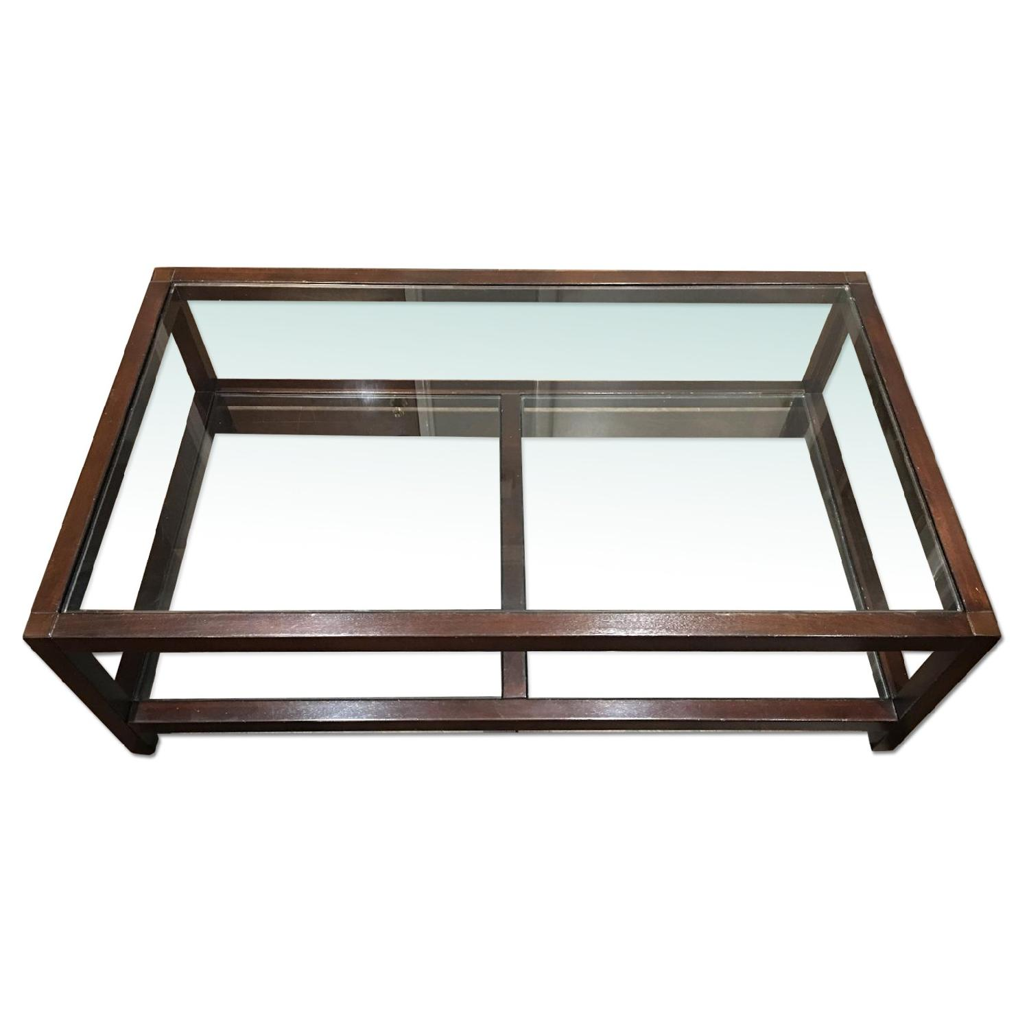 Pottery Barn Glass & Wood Coffee Table - image-0