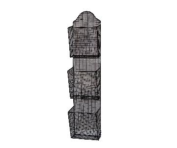 3 Baskets Metal Wire Wall Hanging Rack