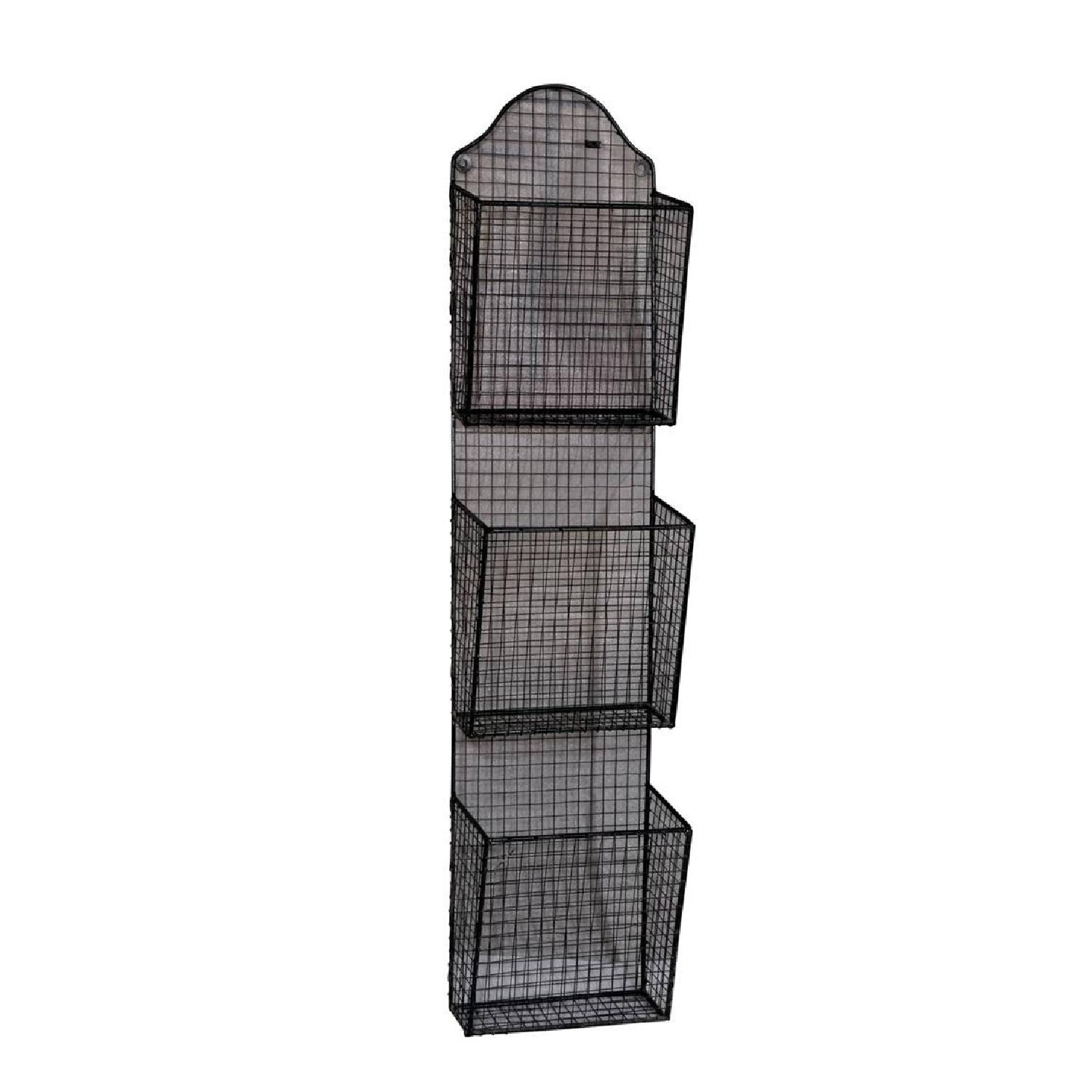 3 Baskets Metal Wire Wall Hanging Rack - image-1