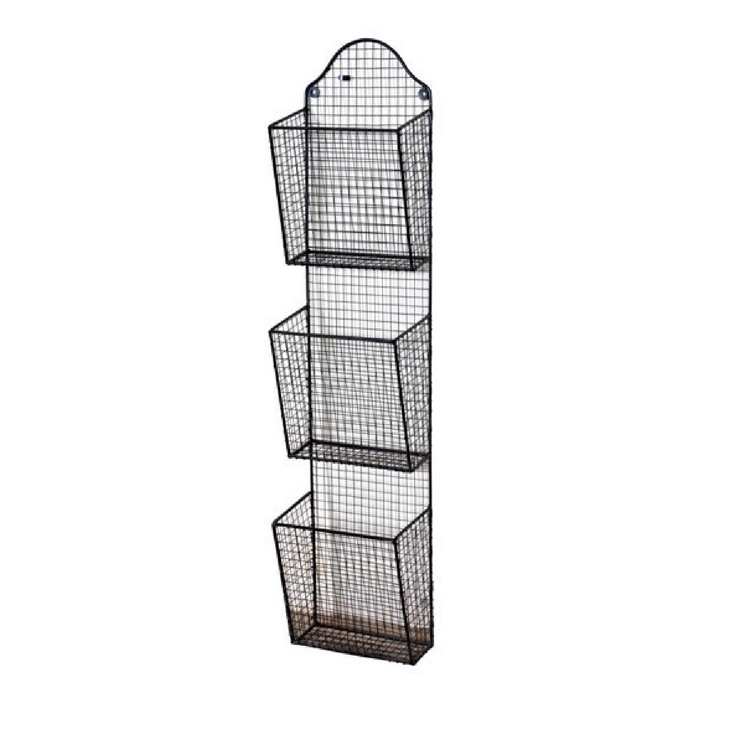 3 Baskets Metal Wire Wall Hanging Rack - image-0