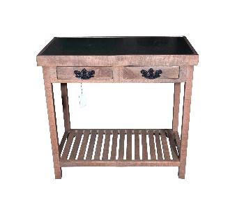 2 Drawer Console Table w/ Marble Top