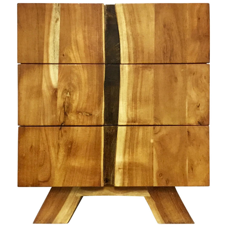 Wooden 3 Drawer Bedside Table - image-0