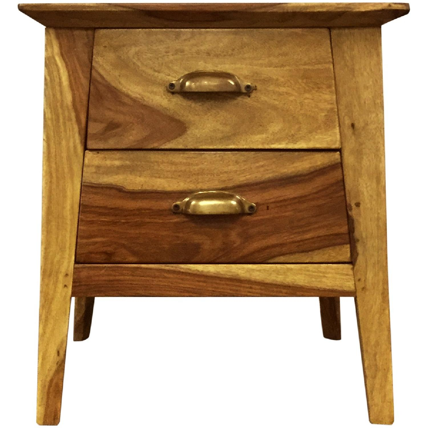 Wooden 2 Drawer Bedside Table - image-0