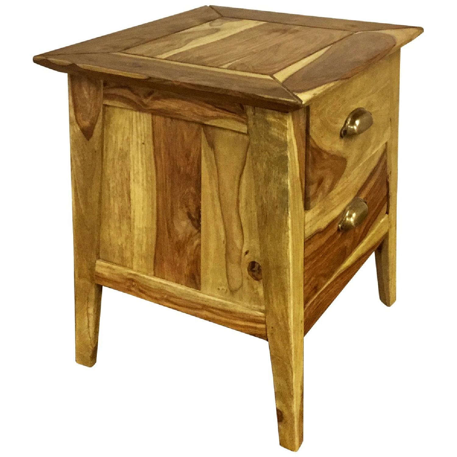 Wooden 2 Drawer Bedside Table - image-1