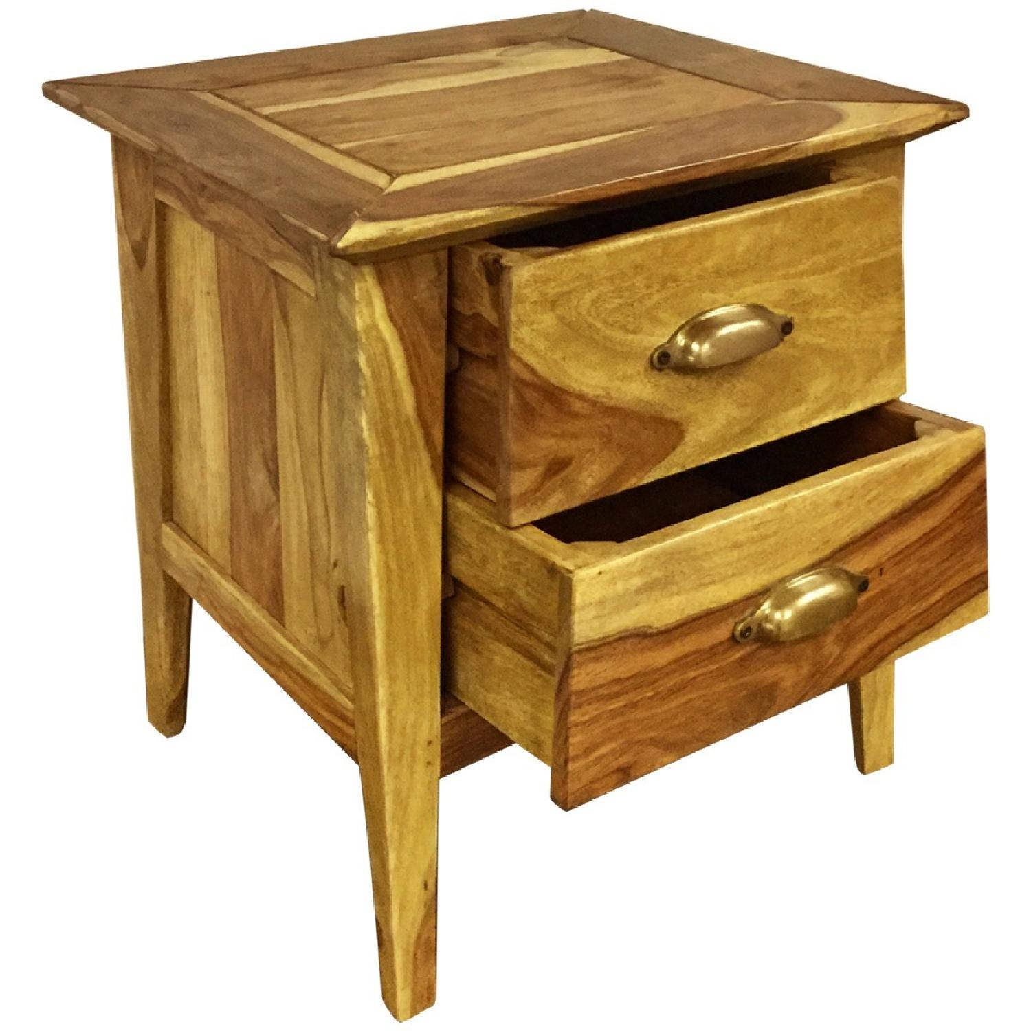 Wooden 2 Drawer Bedside Table - image-2