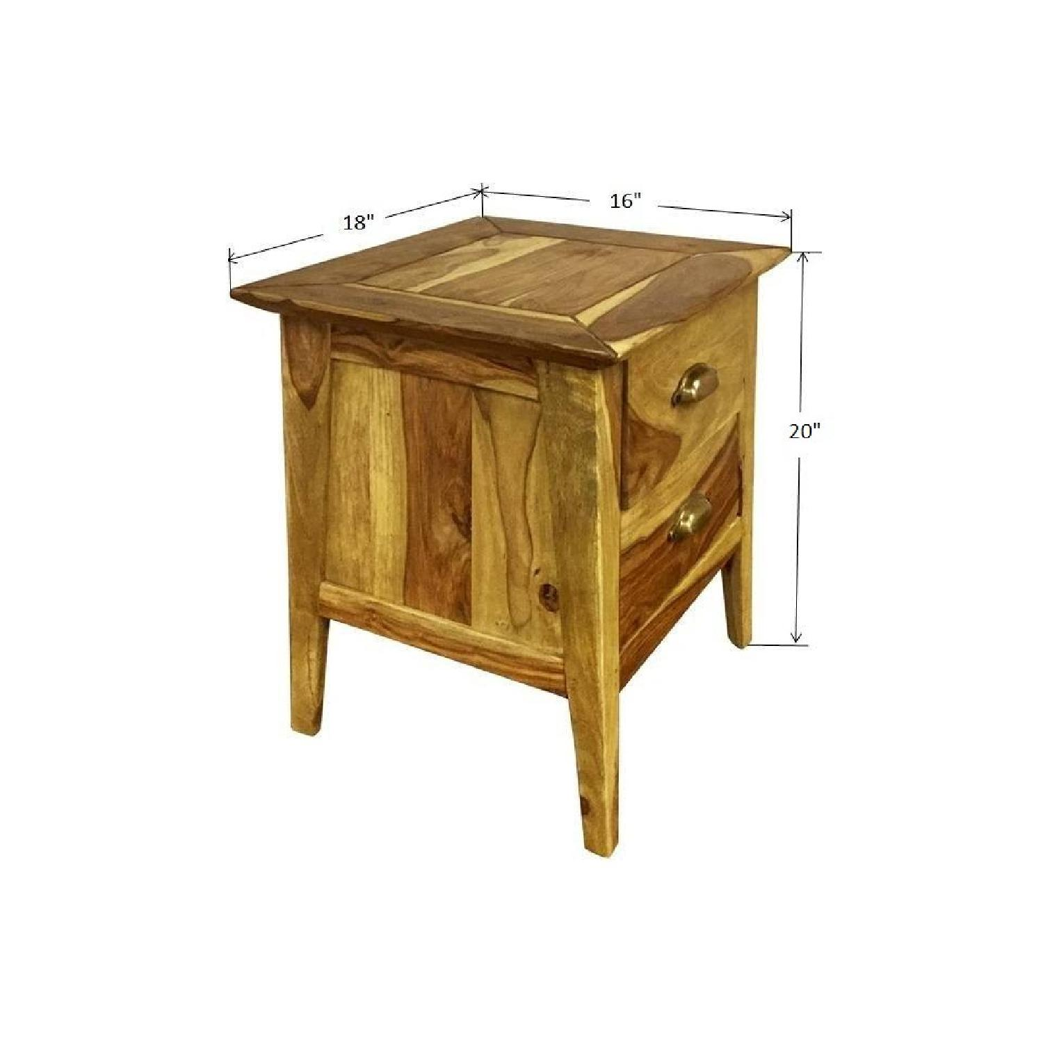 Wooden 2 Drawer Bedside Table - image-3