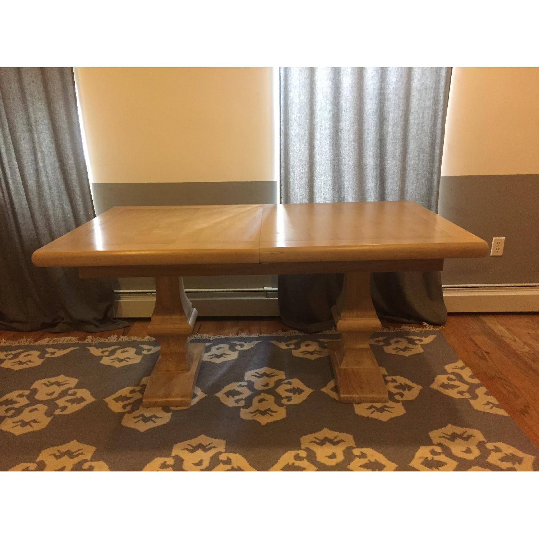 Ballard Designs Belgian Oak Trestle Dining Table w/ Leaf Extension - image-1