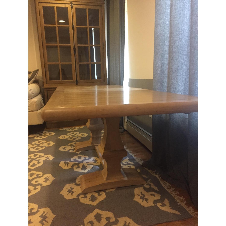 Ballard Designs Belgian Oak Trestle Dining Table w/ Leaf Extension - image-2