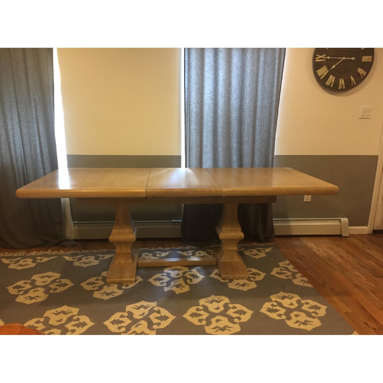 Ballard Designs Belgian Oak Trestle Dining Table w/ Leaf Extension - image-3