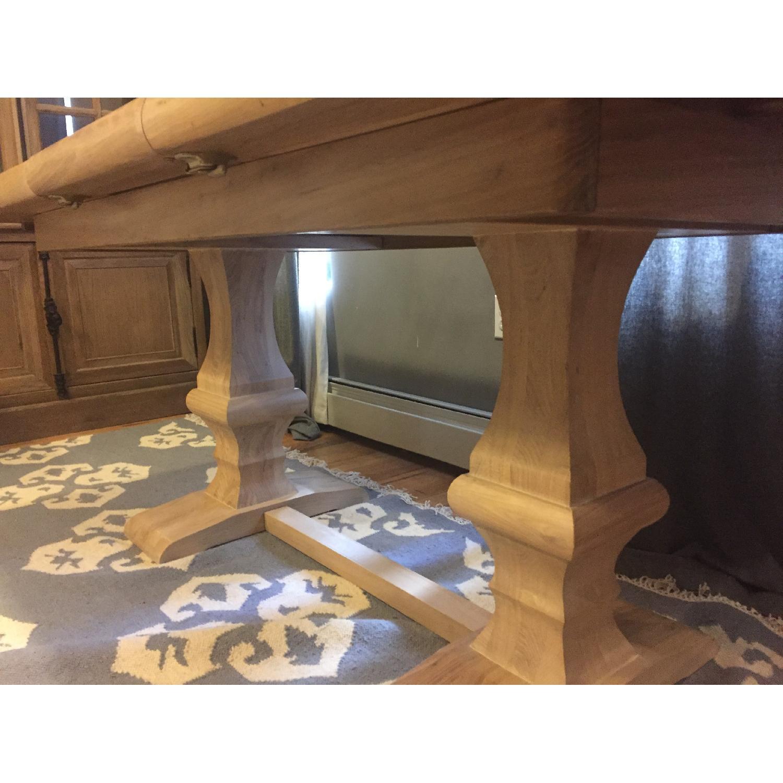 Ballard Designs Belgian Oak Trestle Dining Table w/ Leaf Extension - image-4