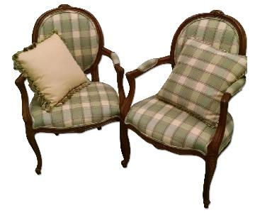 French-Style Armchairs w/ Throw Pillows
