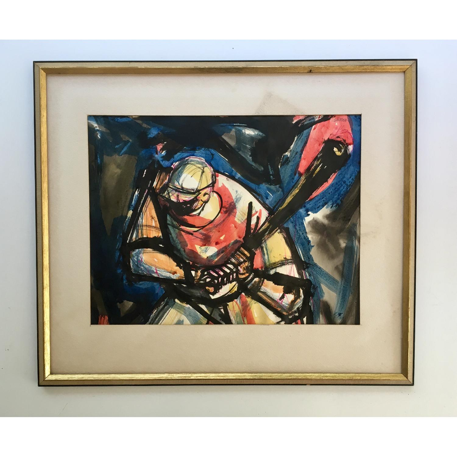 Ronald Satok Vintage Modernist Watercolor - image-1