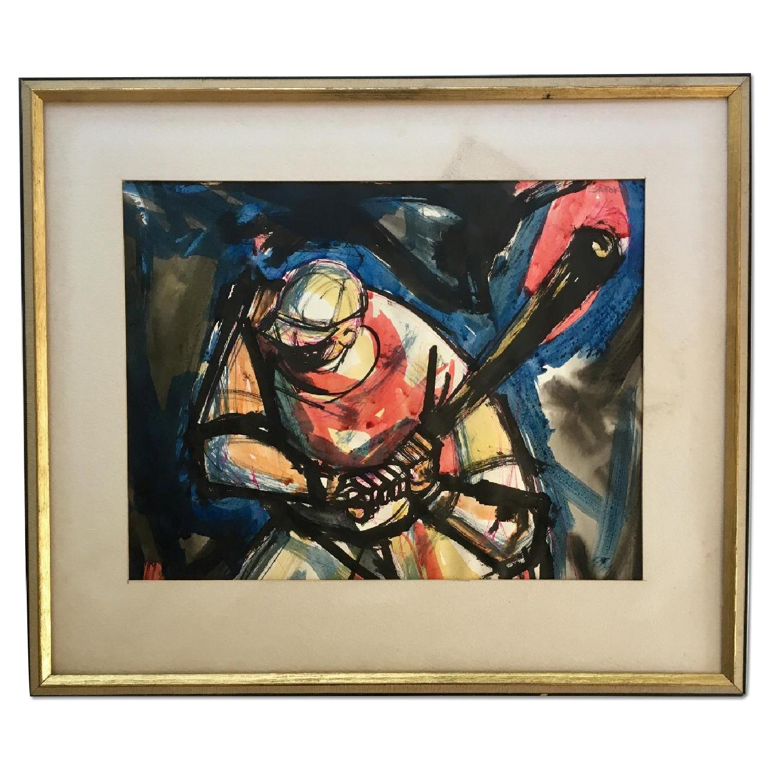 Ronald Satok Vintage Modernist Watercolor - image-0