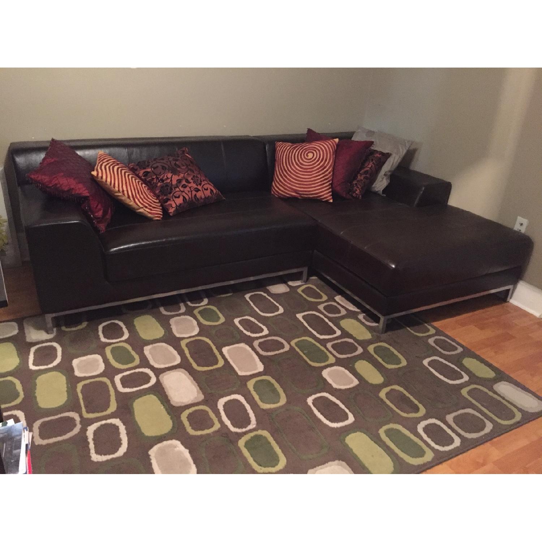Ikea Dark Brown Leather Sectional Sofa - image-1