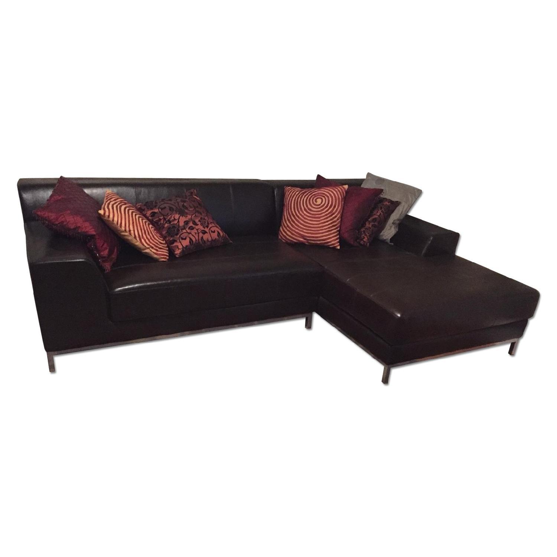 Ikea Dark Brown Leather Sectional Sofa - image-0