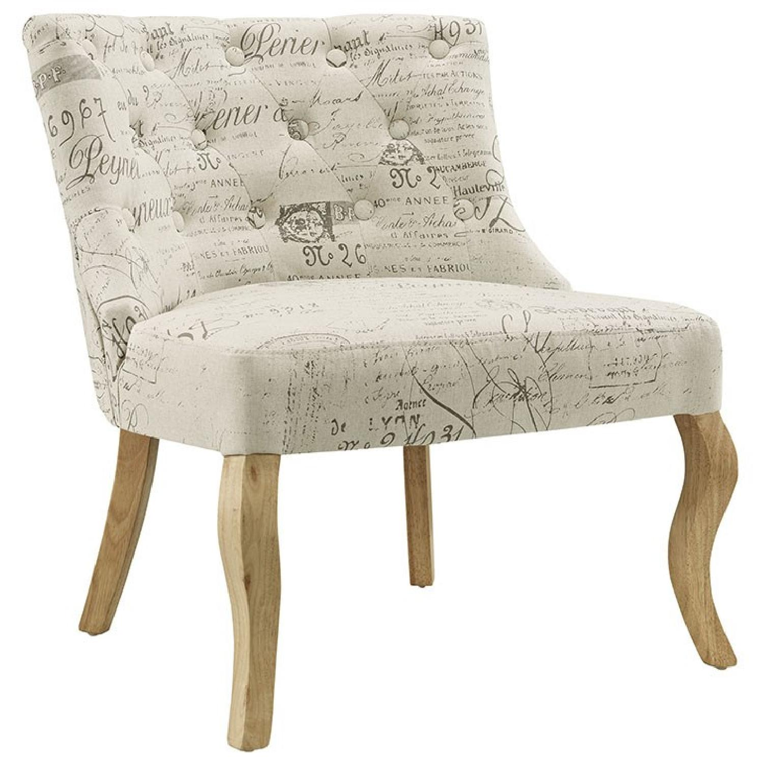 White Printed Accent Chair - image-0