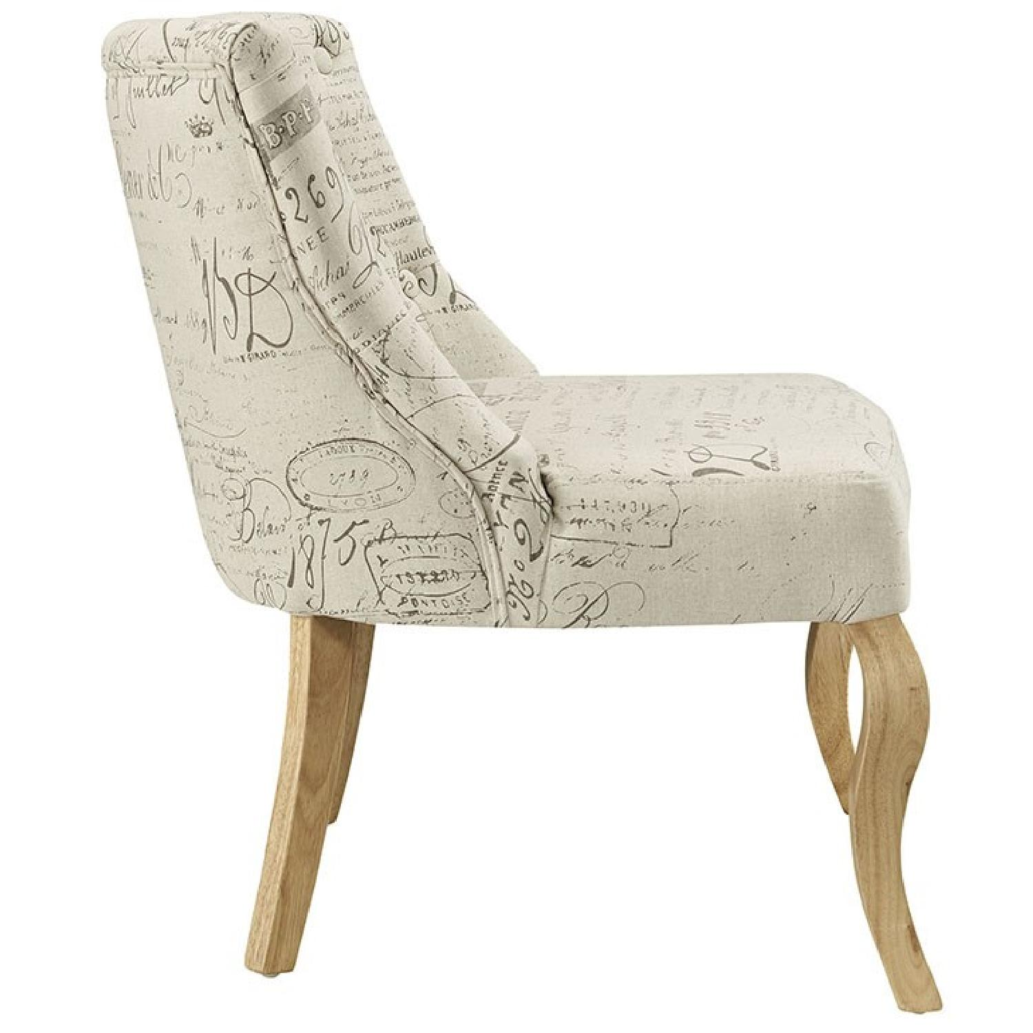 White Printed Accent Chair - image-1