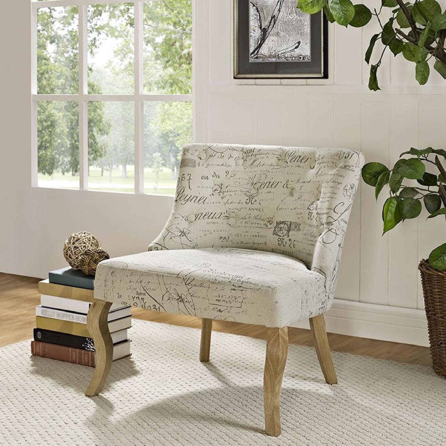 White Printed Accent Chair - image-3