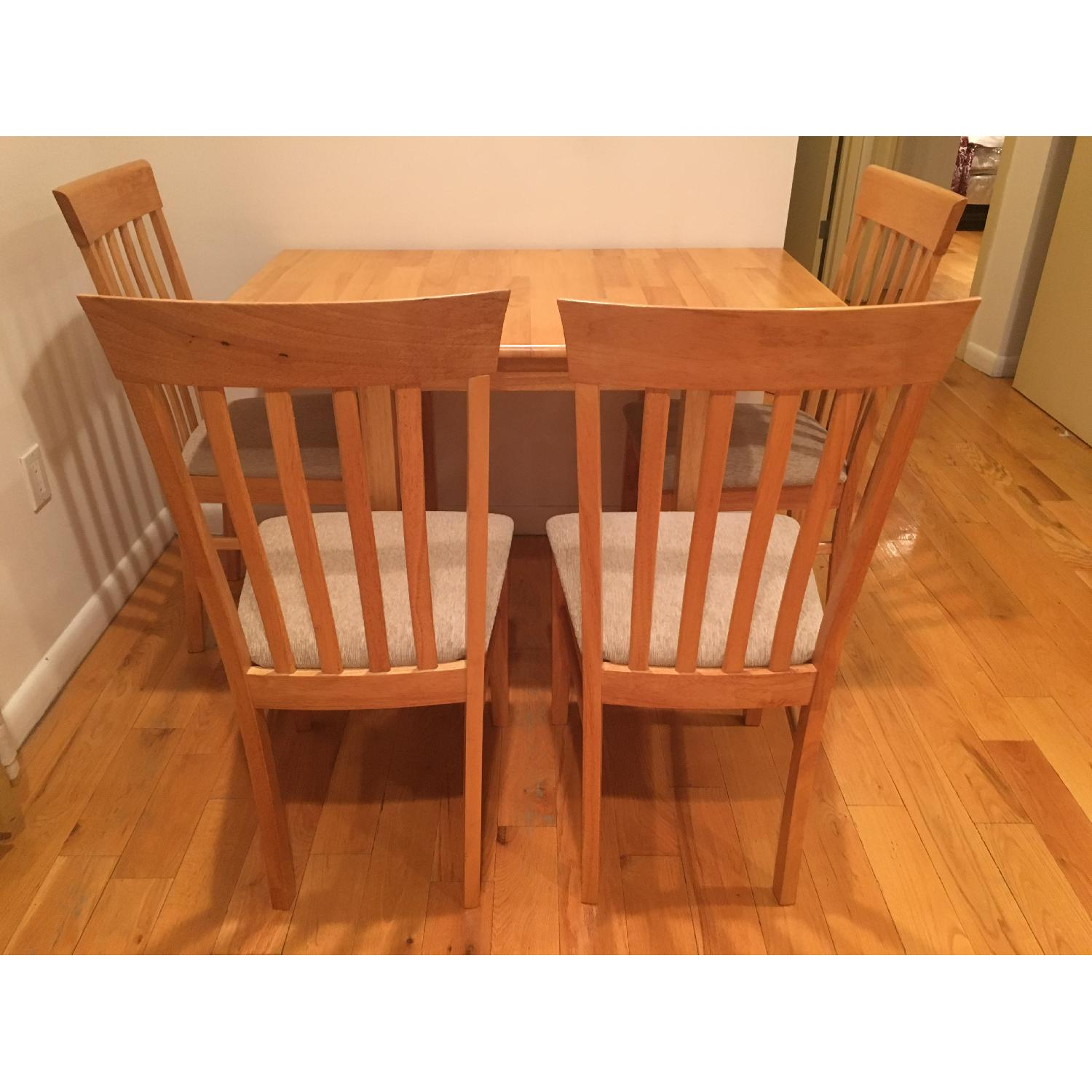 Natural Solid Wood Dining Table w/ 4 Chairs - image-1