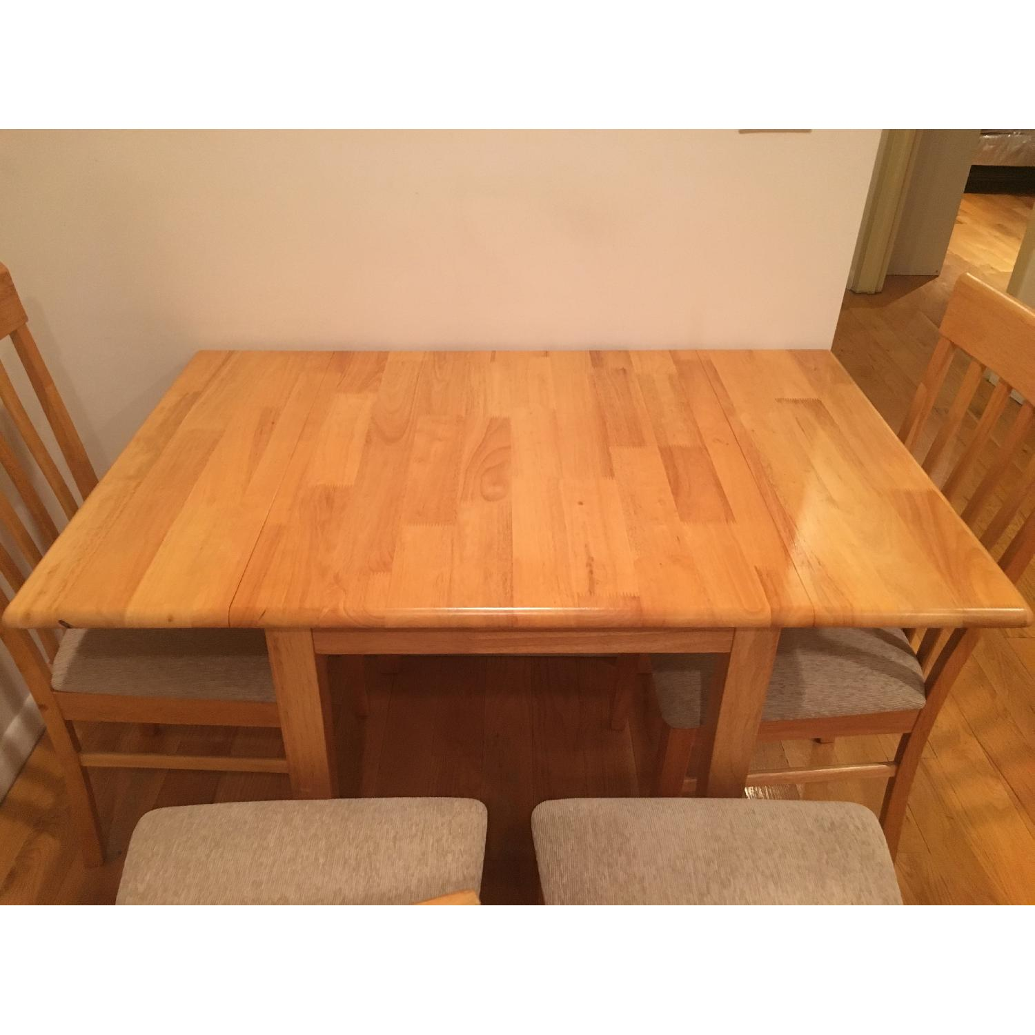 Natural Solid Wood Dining Table w/ 4 Chairs - image-3