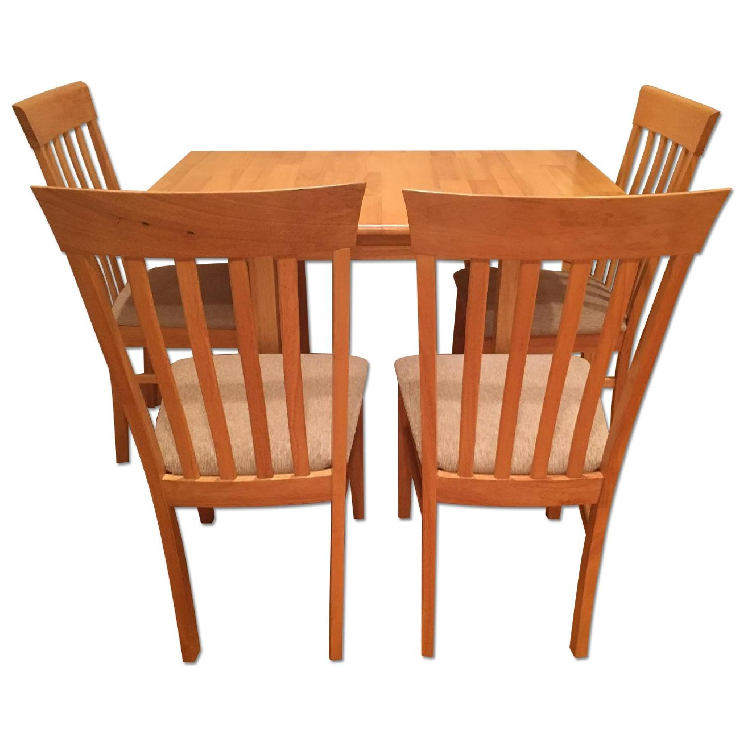 Natural Solid Wood Dining Table w/ 4 Chairs - image-0