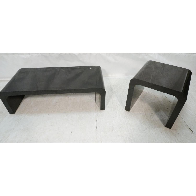 Karl Springer Style Black Coffee + 2 Side Tables - image-1