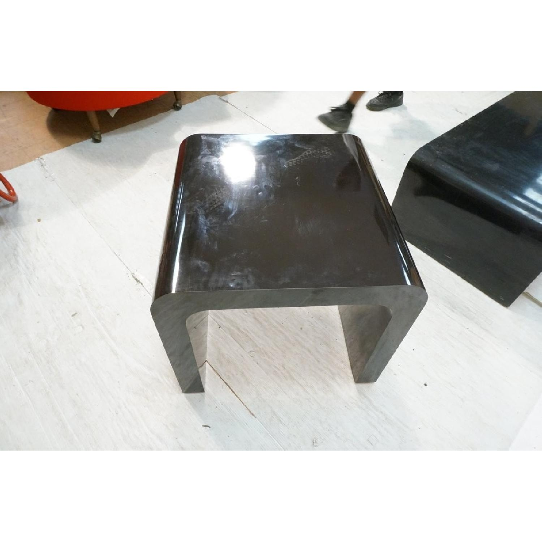 Karl Springer Style Black Coffee + 2 Side Tables - image-4