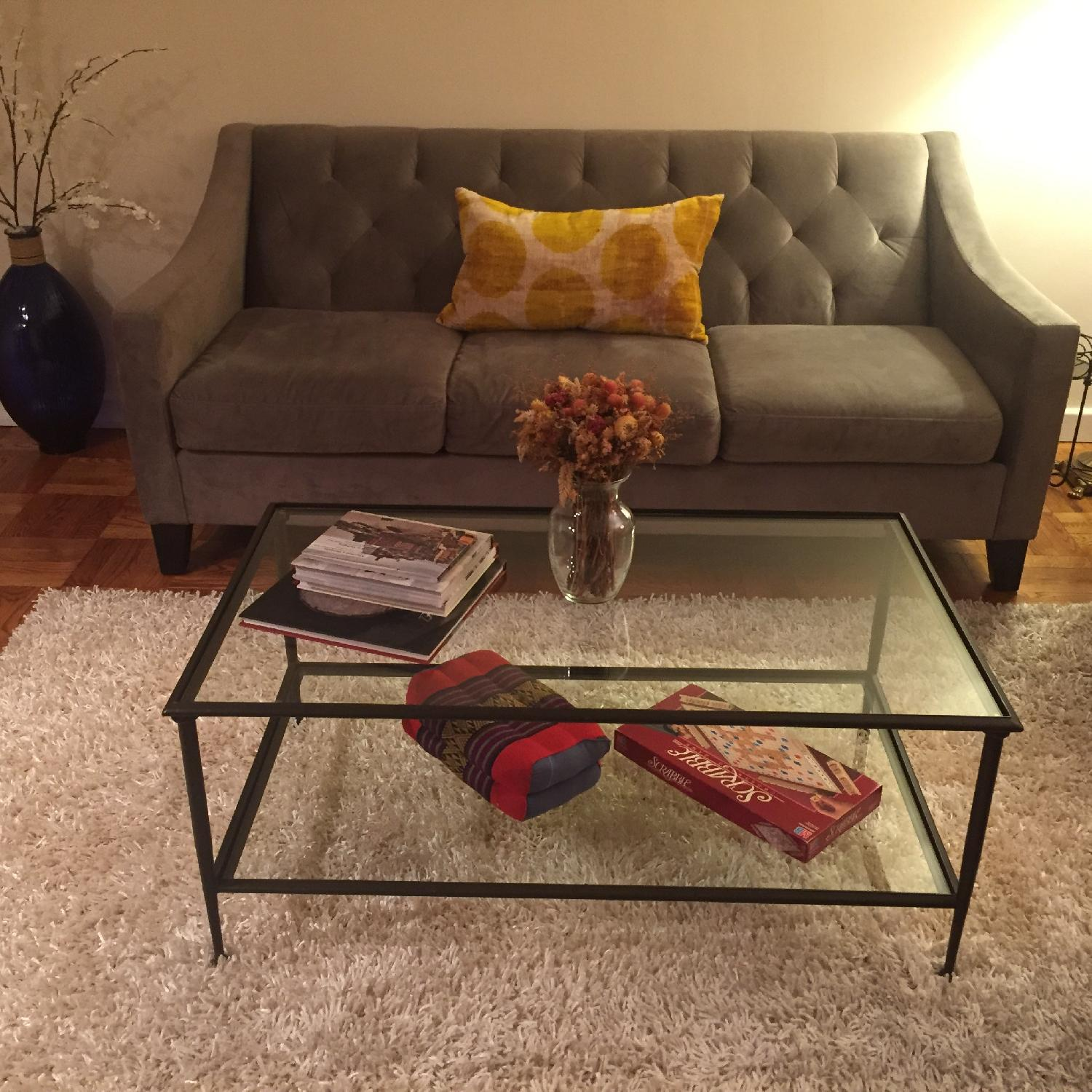 Crate & Barrel Glass Coffee Table - image-3