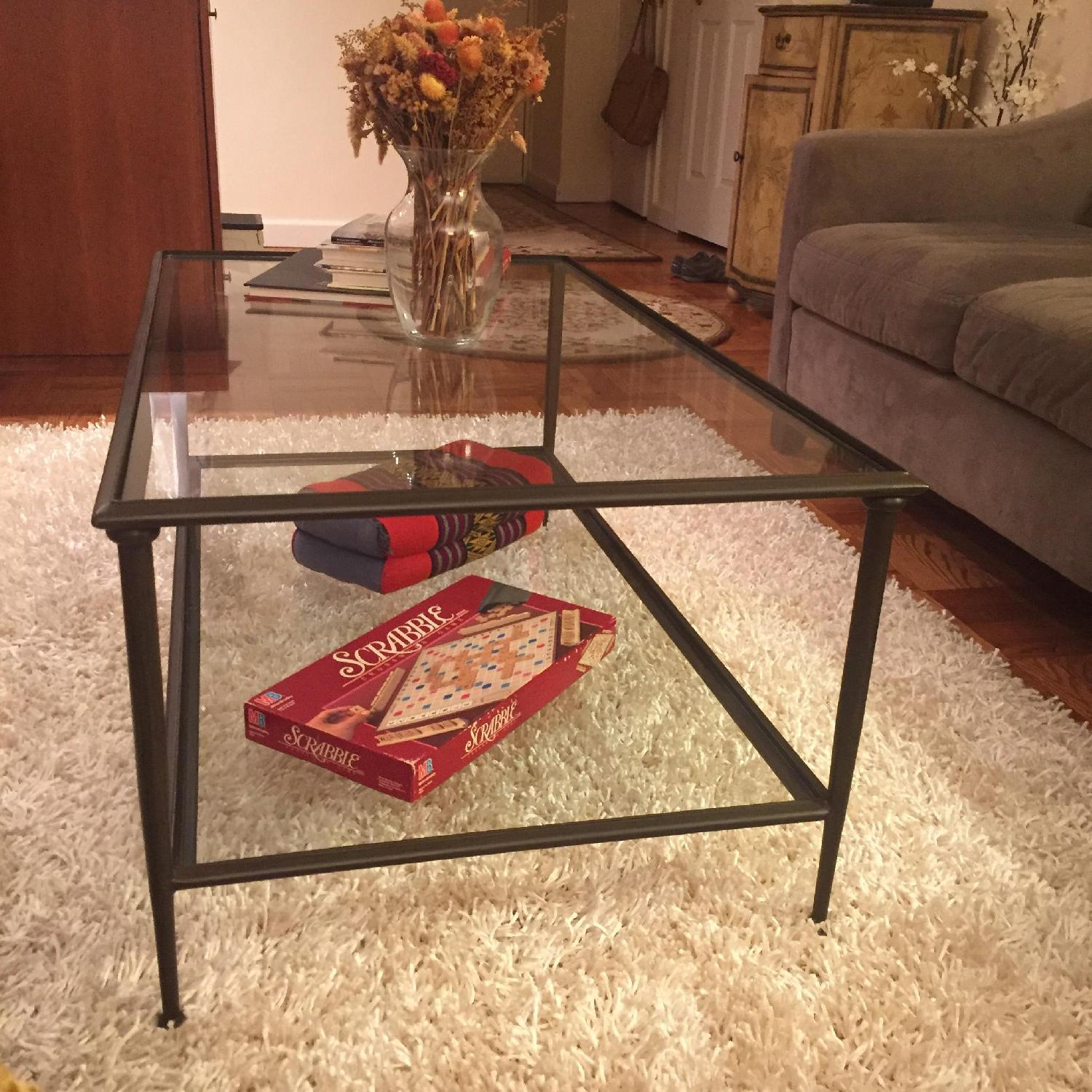 Crate & Barrel Glass Coffee Table - image-4
