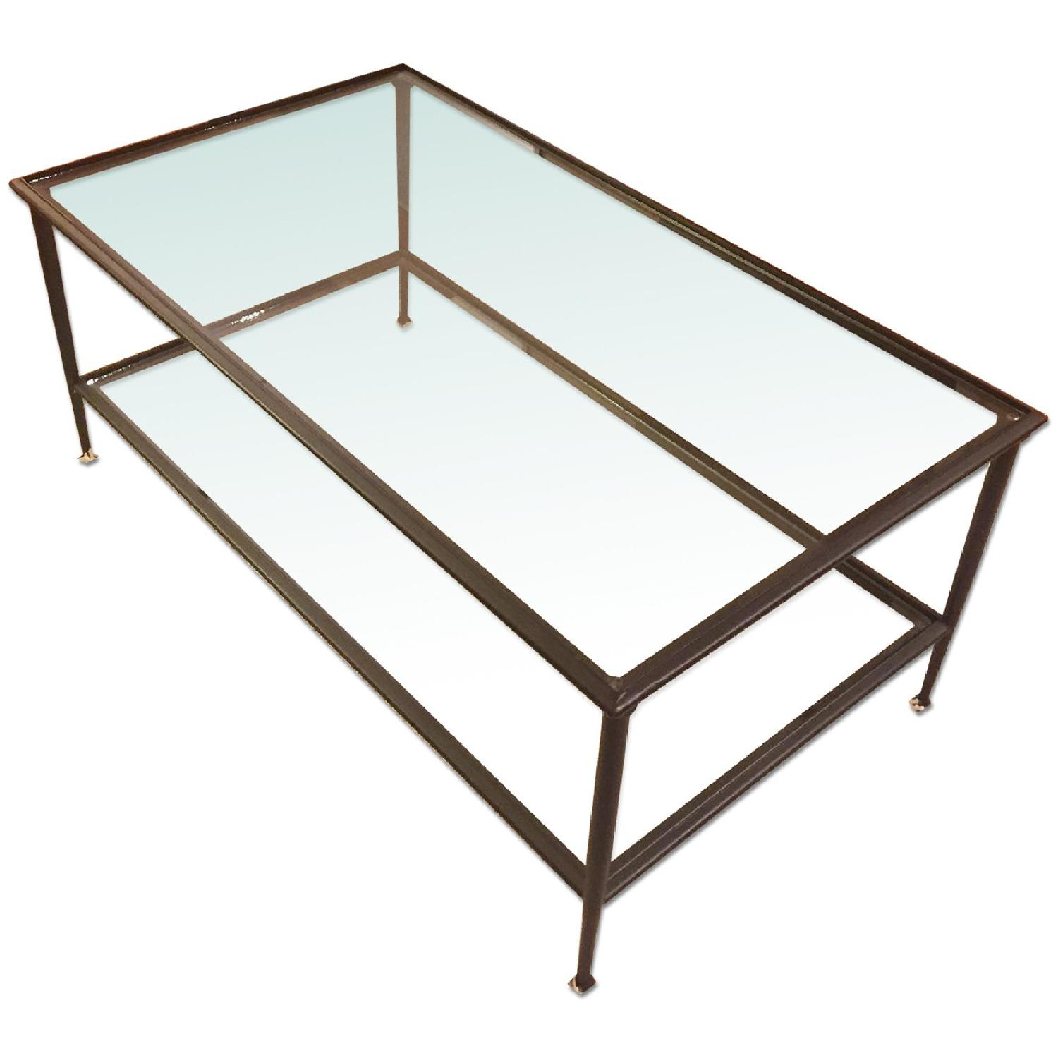 Crate & Barrel Glass Coffee Table - image-0
