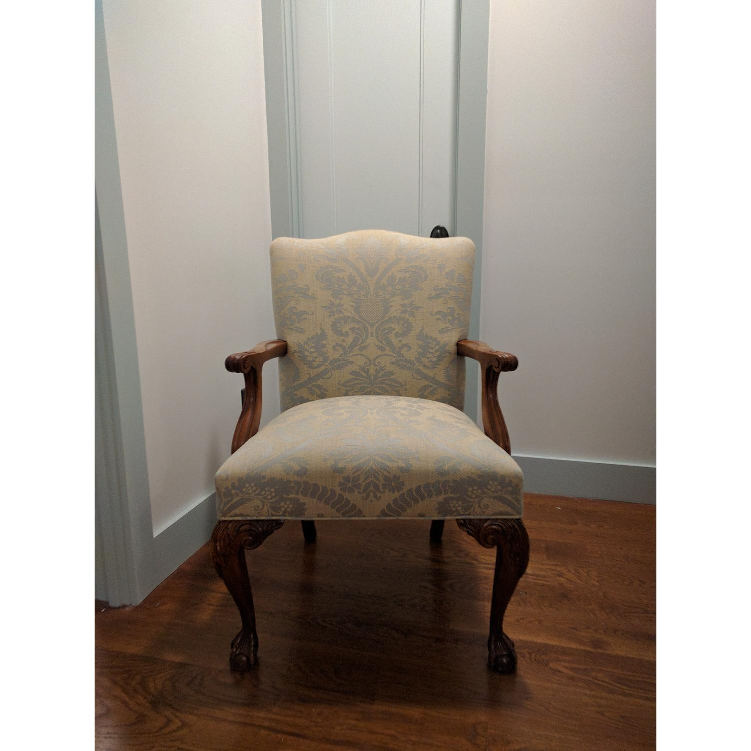 Antique Re-Upholstered Chippendale Carved Wood Chair - image-1