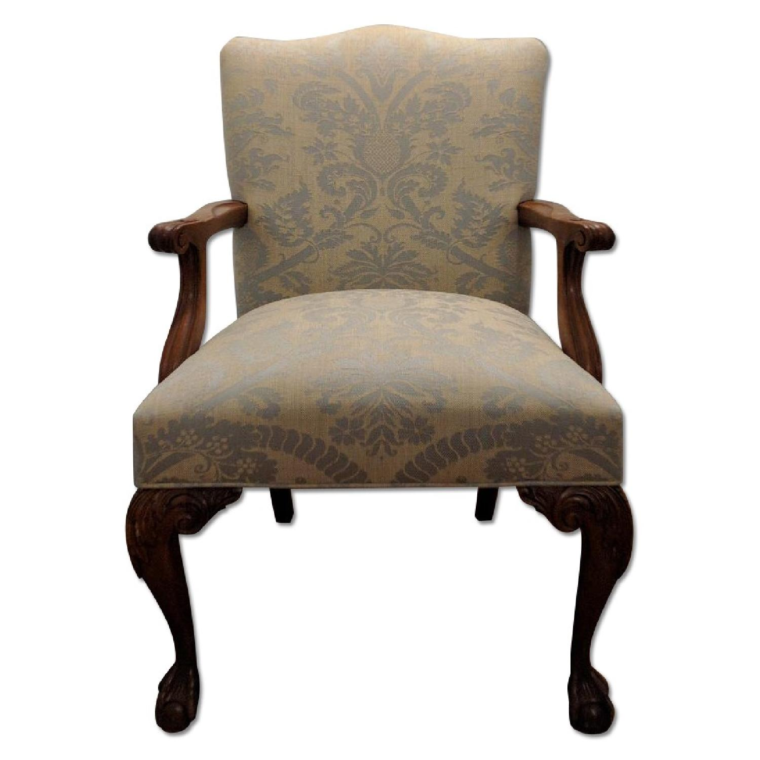Antique Re-Upholstered Chippendale Carved Wood Chair - image-0