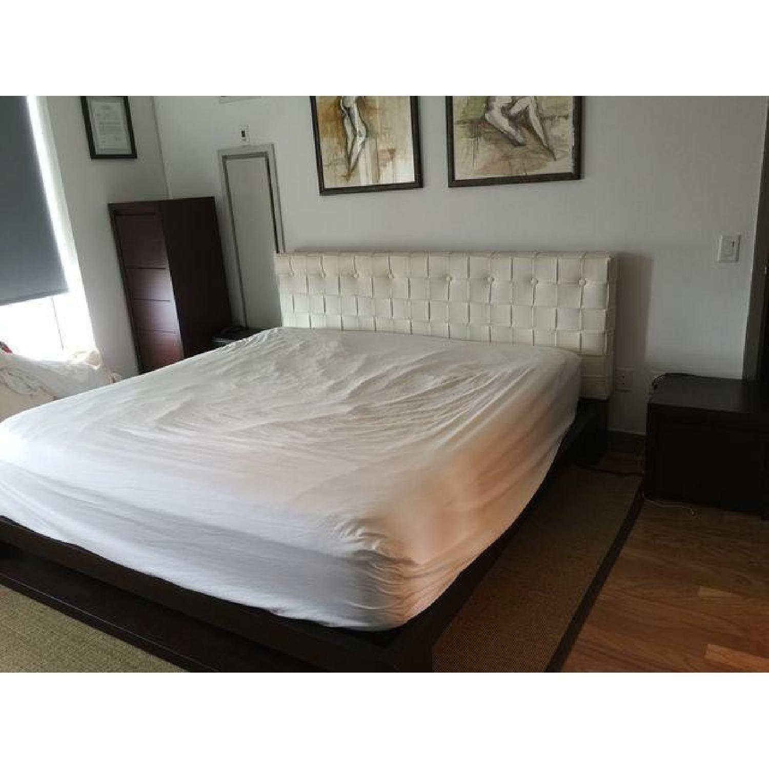 Calligaris King Bed Frame / Faux Leather Headboard - image-2