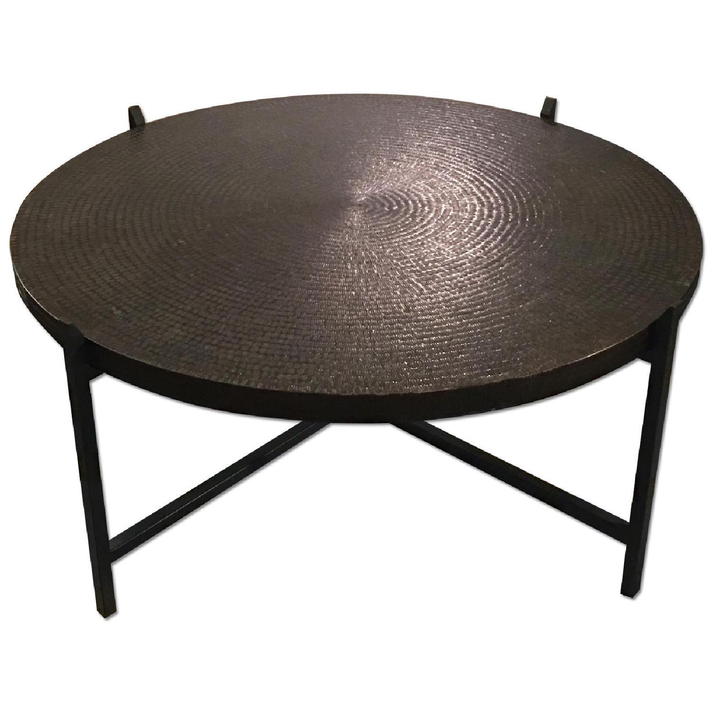 Crate & Barrel Copper Coffee Table - image-0