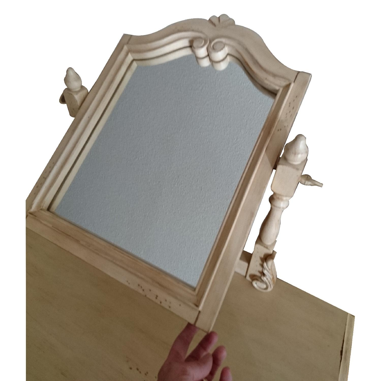 Vintage Bedroom Makeup Vanity Table w/ Swivel Mirror & Stool - image-1